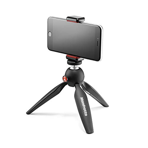 Manfrotto PIXI Mini Tripod Kit with Universal Smartphone Clamp, Black (MKPIXICLAMP-BK)