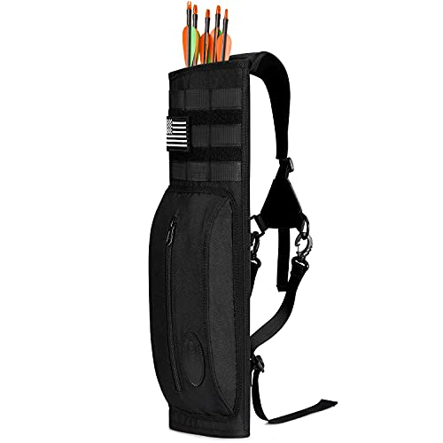 G4Free Archery Back Arrow Quiver Deluxe Canvas Arrow Holder Shoulder Hanged Hunting Target Quiver (Black with Tactical Patch)