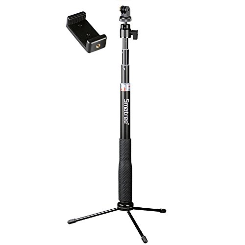 Smatree Q3 Telescoping Selfie Stick with Tripod Stand Compatible for GoPro Hero Fusion/9/8/7/6/5/4/3+/3/Session/GOPRO Hero 2018/DJI OSMO Action Camera,SJCAM,AKASO,Xiaomi Yi and Cell Phone