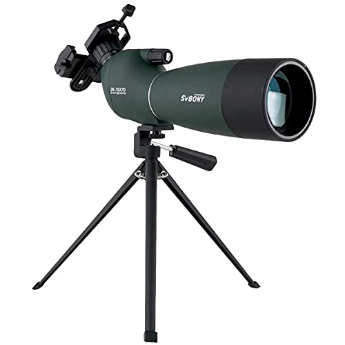 SVBONY SV28 Spotting Scopes with Tripod,Hunting,25-75x70,Angled,Waterproof,Range Shooting Scope,with Phone Adapter,Compact, for Target Shooting,Birding,Stargazing,Wildlife Viewing