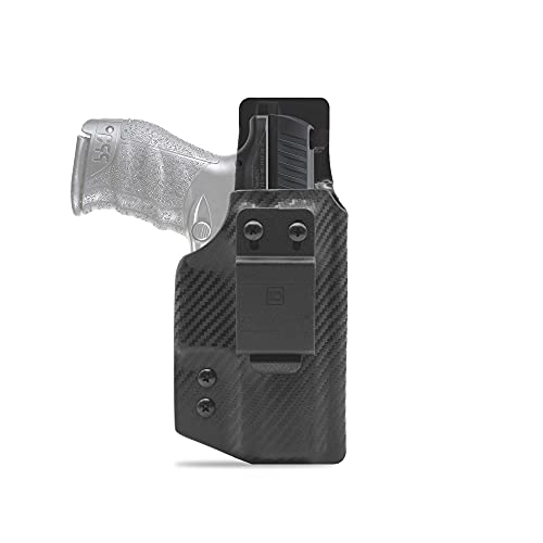 """Clip & Carry IWB Kydex Holster for The Walther PPQ M2 4"""" - Inside Waistband Concealed Carry - Audible Click Retention - Adjus. Cant - Claw Compatible - USA Veteran Made"""