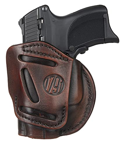 1791 GUNLEATHER 4-Way XDS Holster - OWB and IWB CCW Holster - Right Handed Leather Gun Holster - Fits Springfield XDS, S&W MP9 Shield, Ruger SR9c, LC9, SR40 and Walther PPS (Vintage Brown)