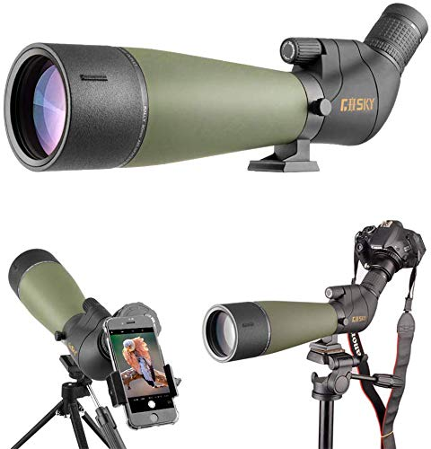 Gosky Updated Spotting Scope with Tripod, Carrying Bag - BAK4 Angled Scope for Target Shooting Hunting Bird Watching Wildlife Scenery (Phone Mount+SLR Mount Compatible with Canon)