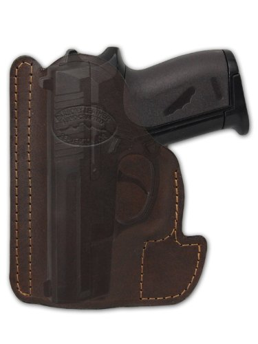 Barsony Brown Leather Gun Concealment Pocket Holster for Taurus TCP 738 .380