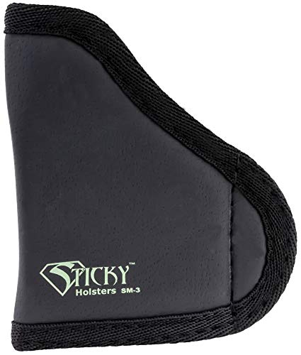 STICKY HOLSTERS SM3 - Holster Specially Designed To Fit Pocket 380's Up To 2.5' Barrel Without Lasers (Color Black)
