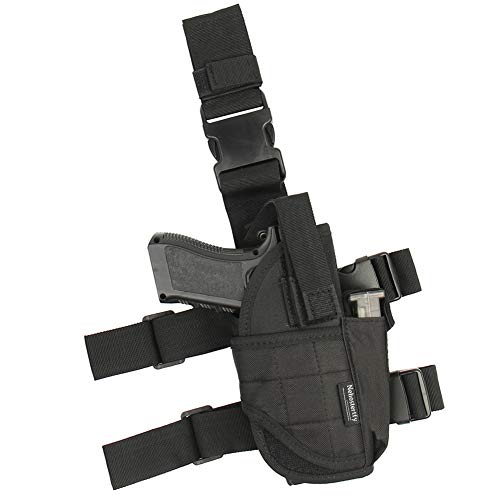 Adjustable Leg Holster, Black Tactical Thigh Holster for Pistols with Magazine Pouch