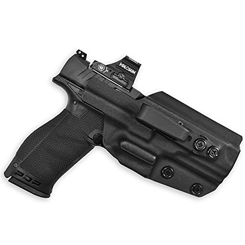 WHOLEGUNS - IWB Kydex Holster Black Tuckable Red Dot Ready + Integrated Claw/Wing - Inside Waistband- Adj. Cant & Posi-Click Retention - 100% US Made (for Walther PDP 4'/4.5'/Compact-Right Hand)