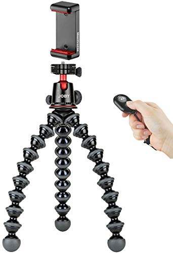 Joby GorillaPod 5K Flexible Tripod Stand and Ballhead Kit with MCLAMP Universal Cell Phone Mount Adapter and Bluetooth Selfie Remote for iOS, Android and Most Smartphones