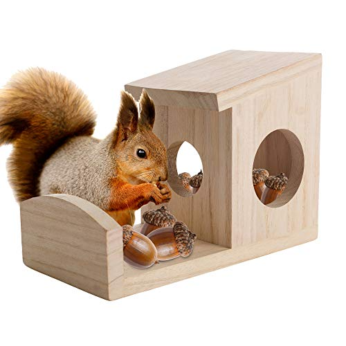 Nature's Hangout Hanging Squirrel Feeder for Outside - Hang on Trees and Fence Posts Wooden Squirrel Feeder