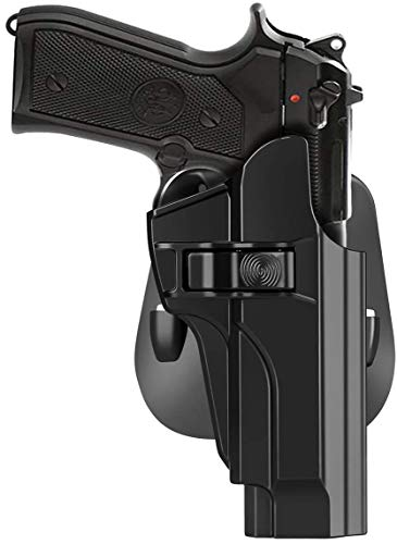 HQDA Beretta 92 92FS M9 M922 Holster,Taurus PT92 OWB Holster Tactical Outside Waistband Paddle Holster Holder,Right-Handed