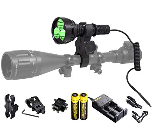 ORION M30C Green 377 Yards 700 Lumen Long Range LED Hog Predator Varmint Hunting Light Flashlight Kit - Mounts, Remote Pressure Switch and Rechargeable Batteries and Charger