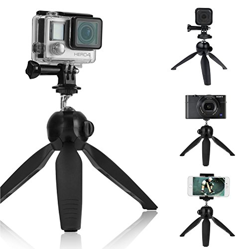 CamKix Premium 3in1 Tripod Base & Hand Stabilizer Grip Compatible with GoPro Hero 8 Black, 7, 6, 5, Black, Session, Hero 4, Session, Black, Silver, Hero+ LCD, 3+, 3, DJI Osmo Action Cams & Smartphone