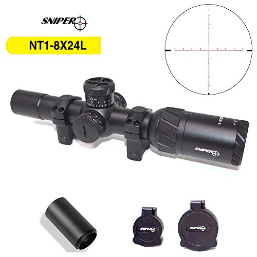 Sniper NT-HD 1-8X24 Scope Red/Green Illuminated BDC Reticle with 30mm Scope Rings