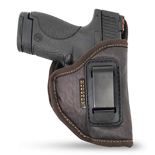 Brown IWB Gun Holster by Houston - ECO Leather Concealed Carry Soft Material | Fits Glock 26/27/33, Shield, XDS, Taurus 709, Taurus Pro C, Walther P22, Beretta Nano, SCCY Sky, Rug LC9 (Right)