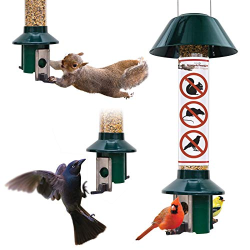 """Roamwild PestOff Red Squirrel Proof Cardinal Bird Feeder Mixed Seed Sunflower Heart Version - RED - 3LBS Seed Capacity – 20.5""""x7.5""""x7.5"""" (w/Hanger)"""