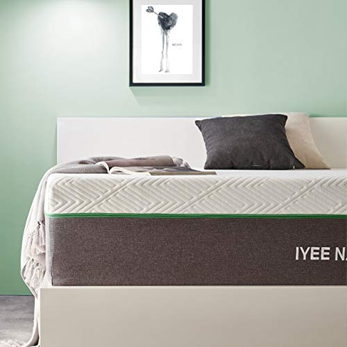 Queen Size Mattress, 10 Inch Iyee Nature Cooling-Gel Memory Foam Mattress Bed in a Box, Supportive & Pressure Relief with Breathable Soft Fabric Cover, Medium Firm Feel,Gray