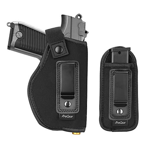 ProCase Universal IWB Holster Magazine Pouch for Concealed Carry, Inside The Waistband Pistol Handgun Holster for S&W M&P Shield 9mm Glock 19 17 27 43 Ruger LC9 Springfield XD and More (Right-Handed)