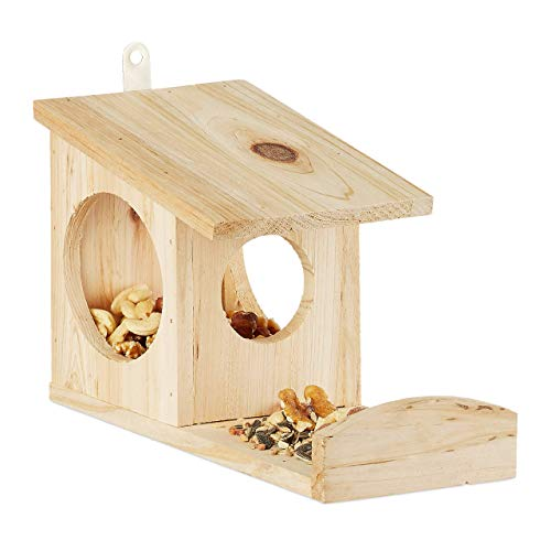 Relaxdays Hanging Squirrel Feeder, Wooden, Weather-Resistant, HxWxD: ca 17.5 x 12 x 25 cm, Green