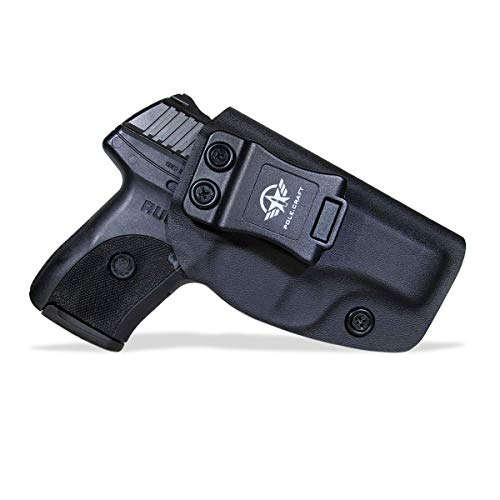 Ruger LC9 Holster IWB Kydex Holster Custom for Ruger LC9 / Ruger LC9S / Ruger EC9S / LC380 Pistol - Inside Waistband Concealed Carry - Adj. Cant Retention - Cover Mag-Button (Black, Right)