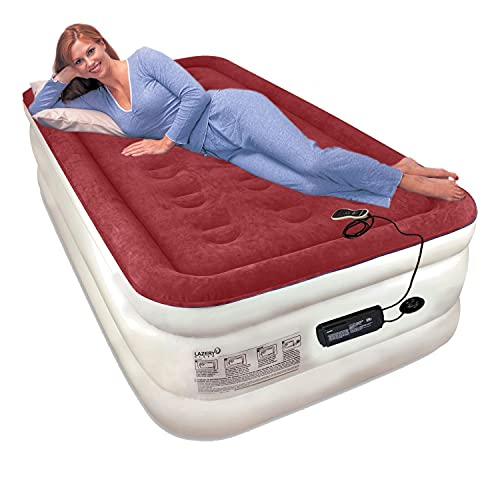 Lazery Sleep Air Mattress Airbed with Built-in Electric 7 Settings Remote LED Pump (Twin)