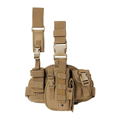 Paladins Drop Leg Holster with Magazine Pouch,Right Handed Tactical Thigh Pistol Gun Holster Leg Harness,Glock 19 Holster Tan