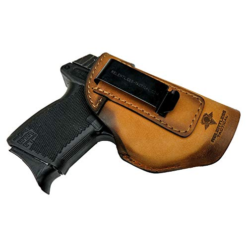 Relentless Tactical The Defender Leather IWB Holster - Made in USA - Fits Glock 42 | Sig P365 | Ruger LC9, LC9s | Kahr CM9, MK9, P9 | Springfield Hellcat and More - Charred Oak Right Handed