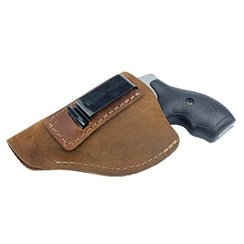 Relentless Tactical The Ultimate Suede Leather IWB Holster - Made in USA - Fits Most J Frame Revolvers - Ruger LCR - Smith & Wesson Body Guard - Taurus & Most .38 Special Type Guns - Brown RH