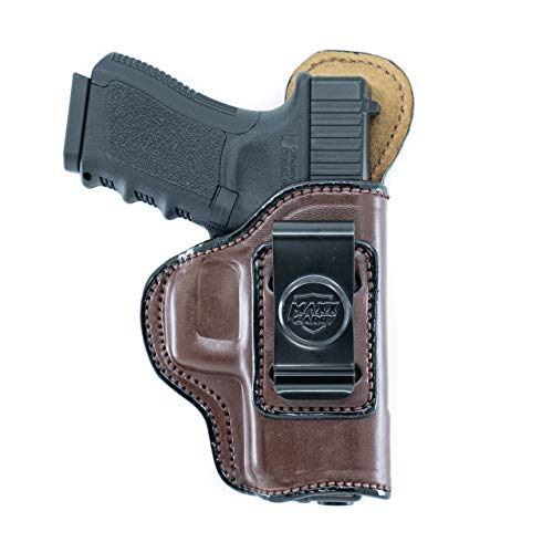 Maxx Carry IWB Leather Gun Holster for Walther PPQ, PPQ M2, PPQ .45   CANIK TP9SF Elite   FN FNX45   H&K HK 45, USP 9mm & 40 S&W   Sig Sauer P250 Compact, Brown, Right Hand Draw