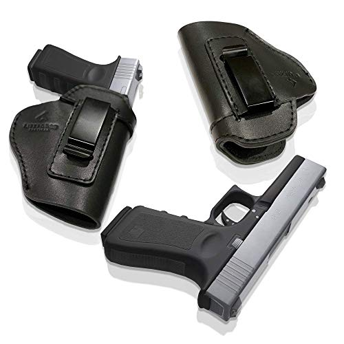 LifeForce Tactical IWB Leather Holster   Concealed Carry Holster (Black, Right Handed)