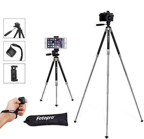 Fotopro Phone Tripod Stand, 39.5 Inch Lightweight Travel Tripod for iPhone with Remote Control, Aluminum Compact Camera Tripod for Nikon, Samsung, Huawei, Vlog Tripod for Tiktok YouTube
