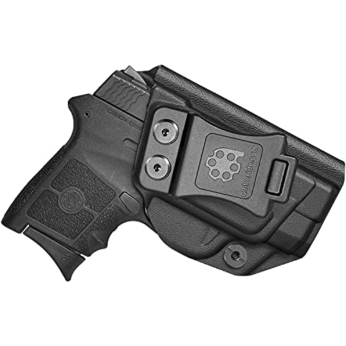 Amberide IWB KYDEX Holster Fit: Smith & Wesson M&P Bodyguard 380 Auto & Integrated Laser Pistol | Inside Waistband | Adjustable Cant | US KYDEX Made (Black, Right Hand Draw (IWB))