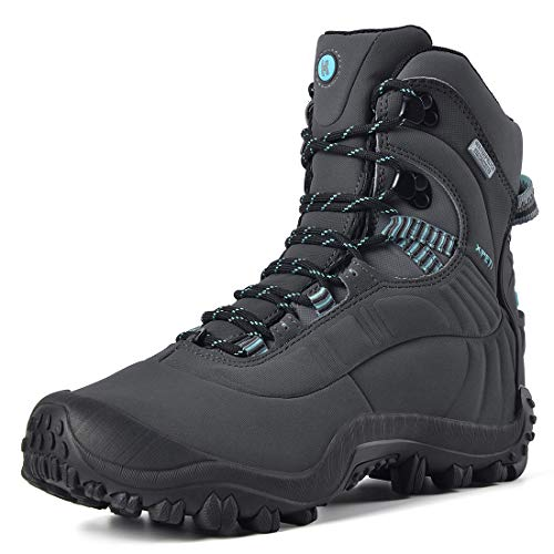 Manfen Women's Hiking Boots Lightweight Waterproof Hunting Boots, Ankle Support, High-Traction Grip, Gray/Sky Blue, 6
