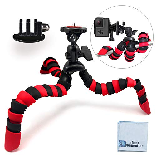 12' Inch Flexible Tripod w/Wrapable Legs. Quick Release Plate Great for All GoPro Hero Cameras + Tripod Mount & an eCostConnection Microfiber Cloth