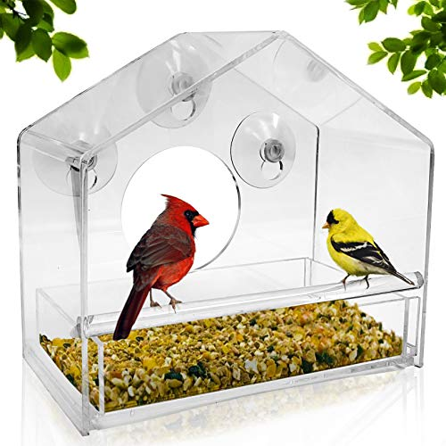 Nature Gear Window Bird Feeder - Refillable Sliding Tray - Weather Proof - Snow and Squirrel Resistant - Drains Rain Water - See Songbirds from Home!