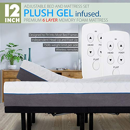 Blissful Nights Split King Adjustable Bed Frame with Wireless Remotes, Head Up Foot Up and 12' Cool Gel Infused Premium Plush 6 Layer Memory Foam Mattress