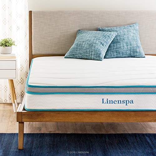Linenspa 8 Inch Memory Foam and Innerspring Hybrid Medium-Firm Feel-California King Mattress, White