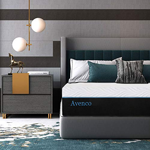 Queen Memory Foam Mattress, Avenco 10 Inch Queen Size Mattress in a Box, Premium Bed Mattress Queen with CertiPUR-US Foam for Supportive, Pressure Relief & Cooler Sleeping, 10 Years Support