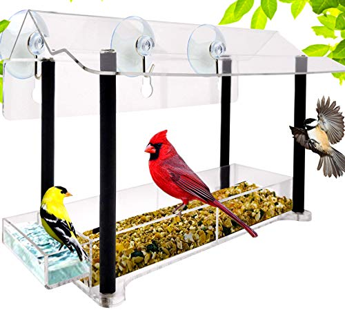 Nature Gear Pure View Hanging Window Bird Feeder - Suspended Design for Crystal Clear Bird Watching - Refillable from Inside Your Home