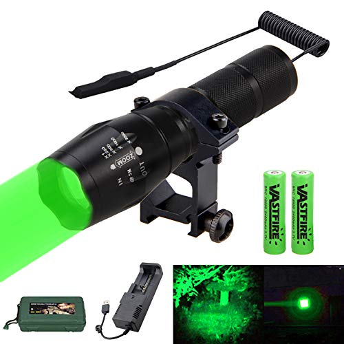 VASTFIRE 350 Yard Zoomable Green Flashlight Kit Varmint Predator Coyote Hog Light with Remote Pressure Switch Rechargeable Batteries and Charger, Gift Box Packaging