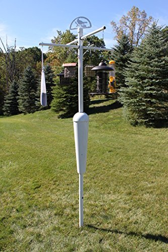 Squirrel Stopper Deluxe System, White Pole and Baffle Set Squirrel Proof