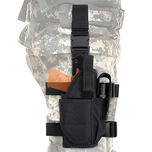 Tactical Drop Leg Holster, Adjustable Universial Pistol Thigh Gun Holster with Magazine Pouches for Right Handed, Black