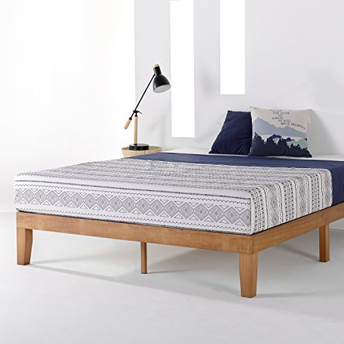 Mellow Naturalista Classic - 12 Inch Solid Wood Platform Bed with Wooden Slats, No Box Spring Needed, Easy Assembly, Queen, Natural Pine