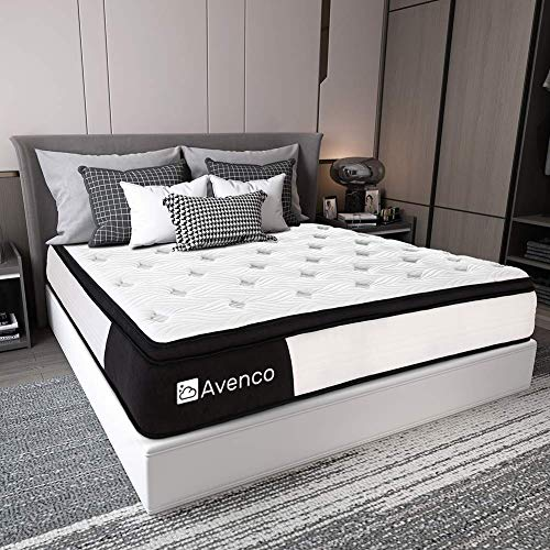 Queen Mattress, Avenco Hybrid Mattress Queen, 10 Inch Innerspring and Gel Memory Foam Mattress in a Box Queen, with CertiPUR-US Foam for Supportive, Pressure Relief & Cooler Sleeping, 10 Years Support