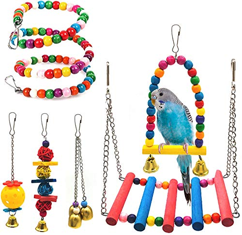 SSRIVER Bird Toys Bird Swing Parrot Bed Ladder Budgie Hammock Macaws Bite Parakeets Bell Lovebirds Rattan Conures Perch Finches Toys Pendant 6 Pcs
