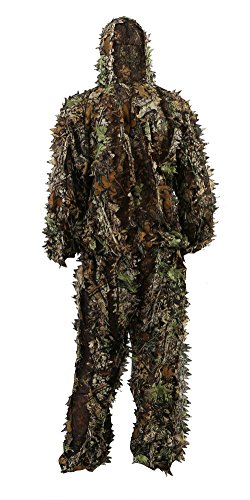 Zicac Outdoor Camo Ghillie Suit 3D Leafy Camouflage Clothing Jungle Woodland Hunting (Height Above 5'11')