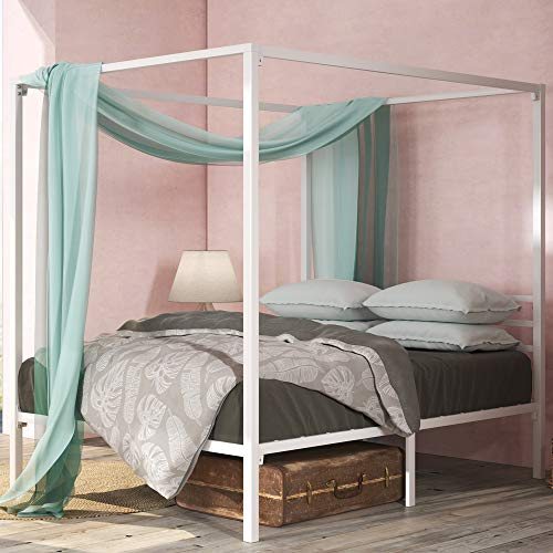 ZINUS Patricia White Metal Canopy Platform Bed Frame / Mattress Foundation with Steel Slat Support / No Box Spring Needed / Easy Assembly, Full