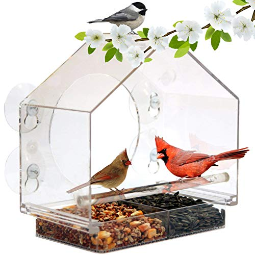 Window Bird House Feeder by Nature Anywhere with Sliding Seed Holder and 4 Extra Strong Suction Cups. Large Outdoor Birdfeeders for Wild Birds. Birdhouse Shape.