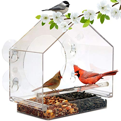 Nature Anywhere Window Bird House Feeder with Sliding Seed Holder and 4 Extra Strong Suction Cups. Large Outdoor Birdfeeders for Wild Birds. Birdhouse Shape.